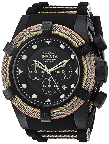Invicta Men's Bolt Quartz Watch with Stainless-Steel Strap, Black, 28 (Model: - Marine Stainless Watch Wrist Steel