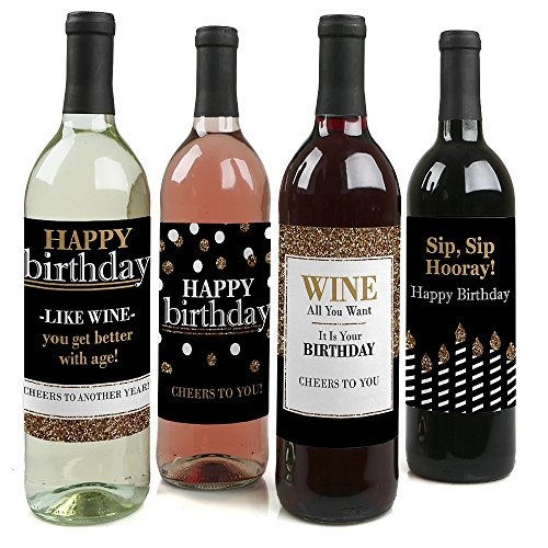 Adult Happy Birthday - Gold - Wine Bottle Labels Birthday Gift - Set of 4