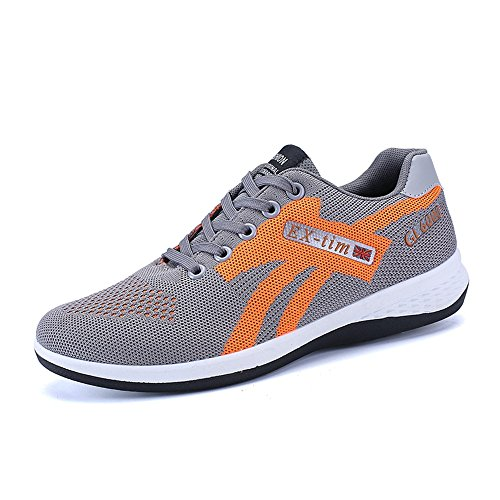 Easy Go Shopping Men's Flat Heel Lace up Mesh Farbic Vamp Athletic Outdoor Shoes Cricket Shoes Gray fZOe0YIVF