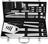 POLIGO 20pcs Stainless Steel BBQ Grill Tools Set - Complete Outdoor BBQ Grill Utensils Set, Heavy Duty Barbecue Accessories in Aluminum Carrying Case - Perfect Grilling Kit Gift Set for Men