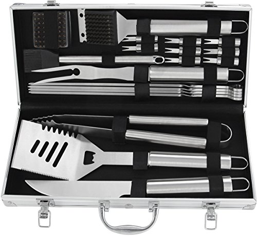 POLIGO 20pcs Stainless Steel BBQ Grill Tools Set - Complete Outdoor BBQ Grill Utensils Set, Heavy Duty Barbecue Accessories in Aluminum Carrying Case - Perfect Grilling Kit Gift Set for ()