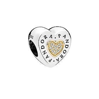 510e4e14e Image Unavailable. Image not available for. Color: Pandora Signature Logo Heart  Charm 796233CZ