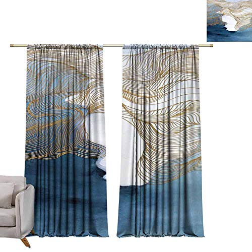 berrly Blackout Window Curtain China, Ink Style, Ancient Painting (67) W72 x L84 Room Darkening Wide Curtains