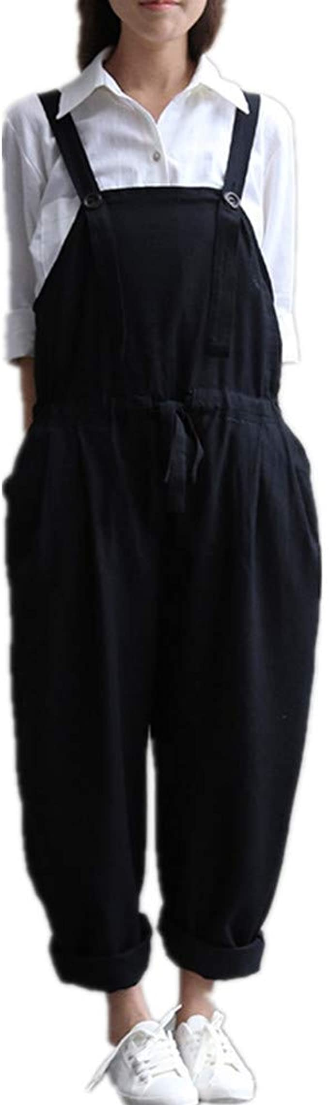 Onsoyours Petos de Pantalones Largo Casual para Mujer Verano Baggy Harem Mono Suelto Moda Bolsillos Overoles Jumpsuit Tirantes Color S/ólido Pantal/ón