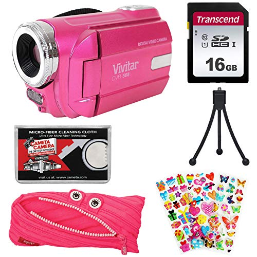 Vivitar DVR-508 HD Digital Video Camera Camcorder (Pink) with 16GB Card + Monster Case + Puffy Stickers + Tripod + Kit