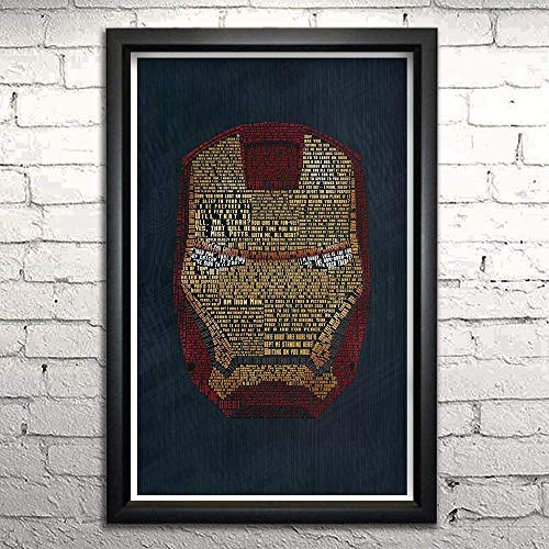 Figures Framed Art - Iron Man word art print -11x17