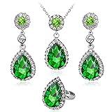 DDLBiz Women Fashion Water Drop Rhinestone Necklace Earring Ring Set Bib Pendant Chain Necklace Set Jewelry (Green)