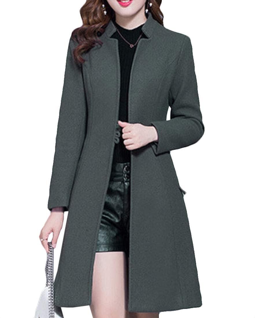 2 jxfd Women Winter Warm Slim Fit Coat Wool Blend Long Coat Overcoat Outwear