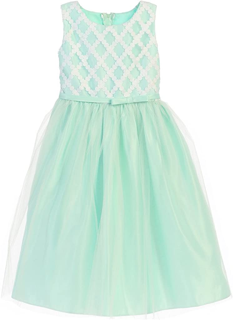 Sweet Kids Satin with Tulle Cross Hatch Spring Flower Girl Dress 2-6Y