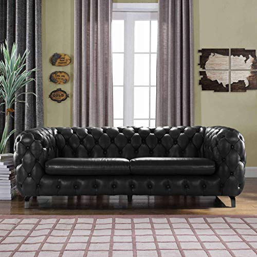 Casa Andrea Modern Tufted Button Leather Upholstered Chesterfield Sofa Couch for Living Room - Milano Leather Sofa Set