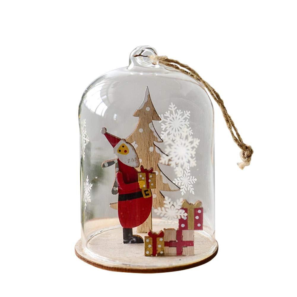 Heitaisi Christmas Glass Dome Sphere Decoration Window Hanging Christmas Gift Santa Claus Christmas Tree Pendant Christmas Door Hanging Ornament