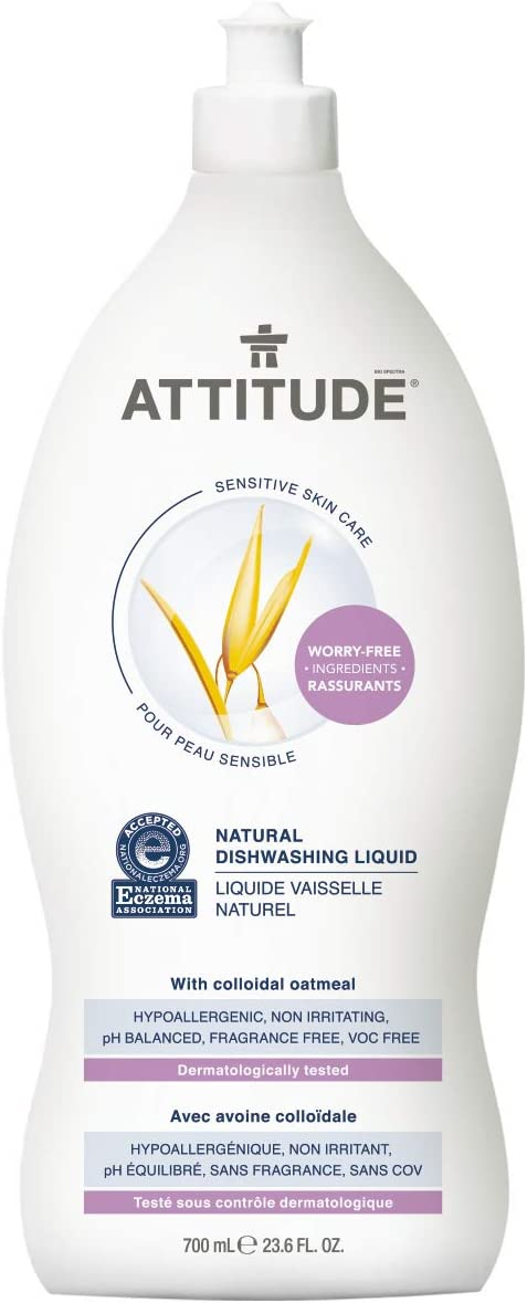 ATTITUDE Sensitive Skin, Hypoallergenic Dishwashing Liquid, Fragrance Free, 23.6 Fluid Ounce