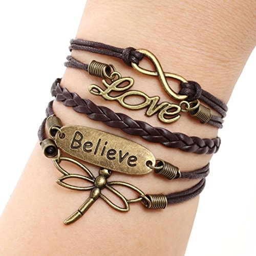 Bestpriceam Dragonfly Multilayer Leather Bracelet