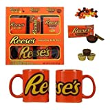 The Hershey's Reese's Holiday Gift Set is designed to please the chocolate lovers in your life. With two ceramic mugs in the kit, they can drink with a pal. The Hershey holiday gift set has a fun Reese's design that stands out with orange, ye...