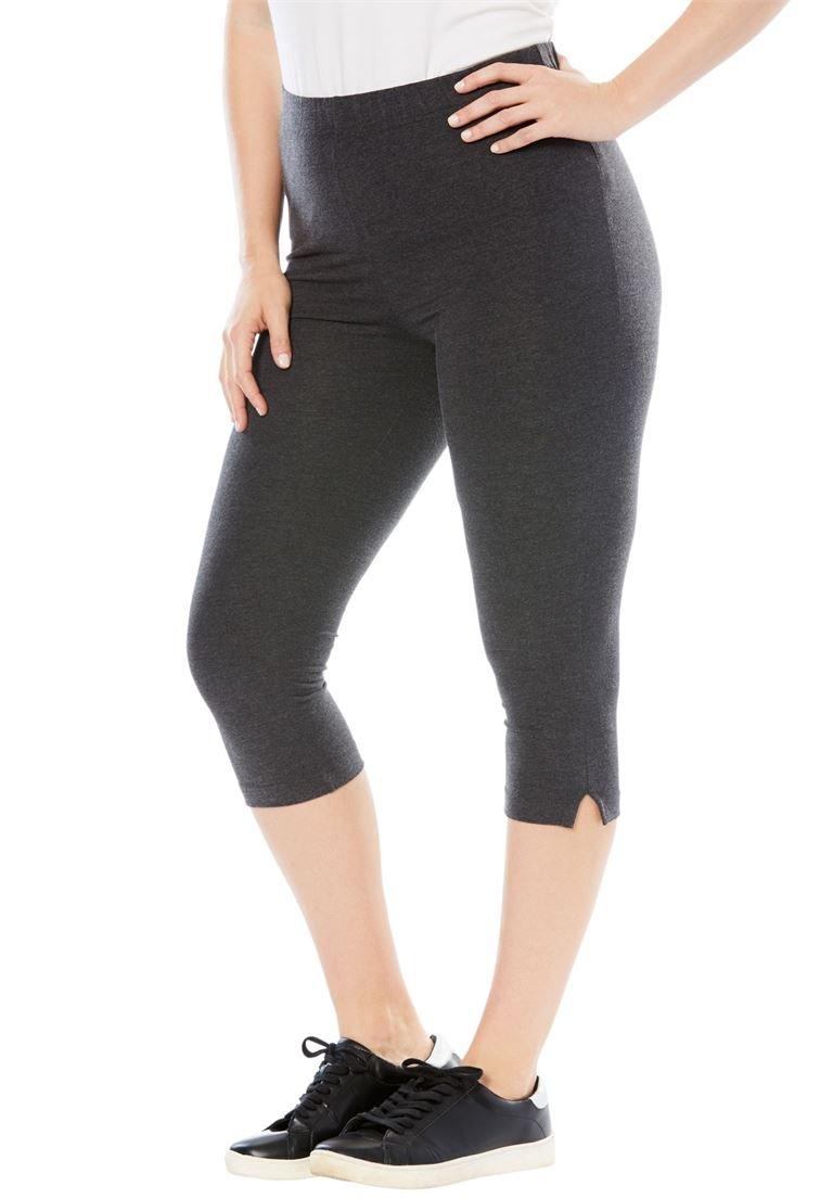 Roamans Women's Plus Size Stretch Capri Leggings