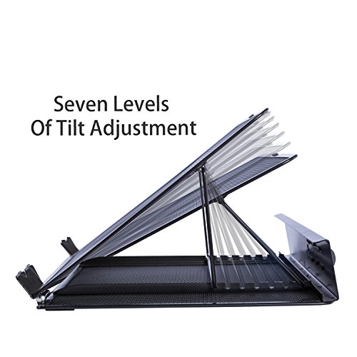 DESIGNA Mesh Metal Ventilated Adjustable Laptop Stand for Desk Notebook Tablet Black by DESIGNA (Image #2)