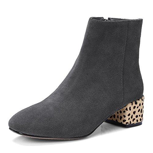 Nio Sju Mocka Läder Womens Rund Tå Chunky Klack Leopard Trendiga Handgjorda Affärs Stövletter Grå