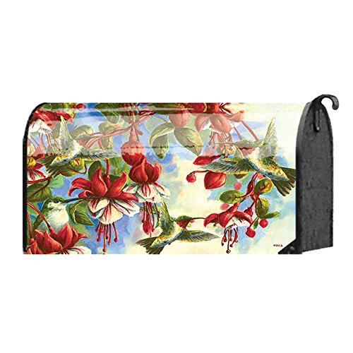 (Green Hummingbird and Red Blossoms 22 x 18 Standard Size Mailbox Cover)