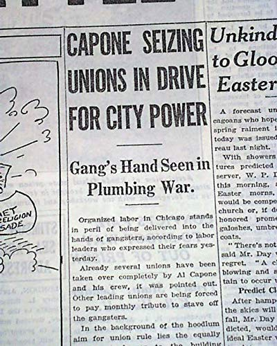 Best AL 'SCARFACE' CAPONE Taking Control of Chicago UNIONS Racket 1930 Newspaper CHICAGO SUNDAY TRIBUNE, April 20, 1930