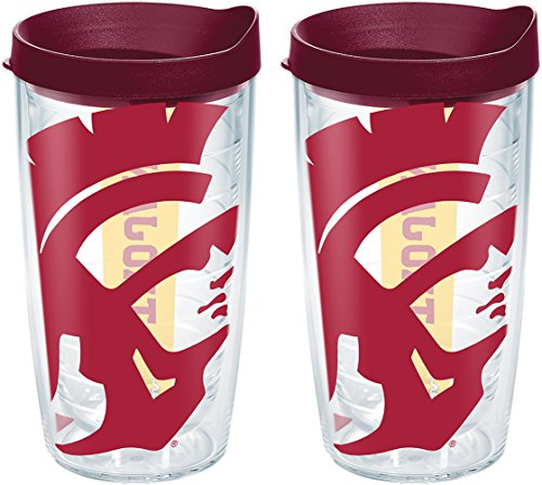 Tervis 1238865 USC Trojans Colossal Insulated Tumbler with Wrap and Maroon Lid 2 Pack - Boxed 16oz Clear ()
