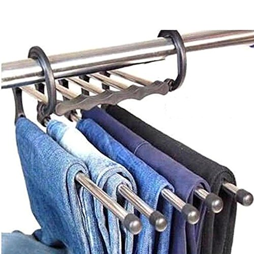 Space Saving Hangers 5 in 1 Trousers Pants Denim Jeans Scarf Coat Hanger Hook Clothes Rack by HuaYang