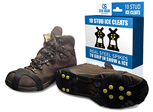 Quik Solve Ice Snow Traction Shoe Boot Cleats - No Slip Gripper Spikes Medium