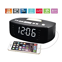 Night light Alarm Clock with FM radio, USB Charger, Auto Dimmer Control, AUX-IN, includes Dual Alarm, 3 Dimming Options (PCR-852E)