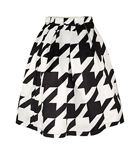 Pretty321 Women Girl 3D Houndstooth Black & White Pleated Midi Knee High Skirt Amazon