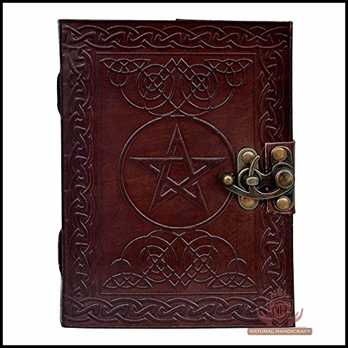 Leather Journal Book Pentagram Embossed Handmade Brown Pentacle Wicca Pagan Notebook Book of Shadows Personal Organizer Daily Planner Office Supplies Handbook 5 x 7 Inches