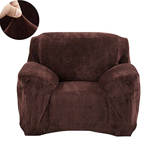Scorpiuse Velvet Armchair Slipcover Stretch Spandex 1-Piece Chair Covers Fitted 1 seater Couch Protector Chocolate