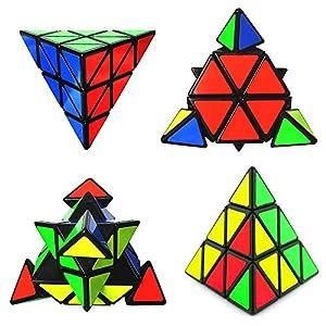 Speed Cube Set- 3x3 Bundle Pack of Magic Twisty Cube- Pyraminx Pyramid Speedcubing, Megaminx Cube Puzzle and Silver Mirror Cube Black
