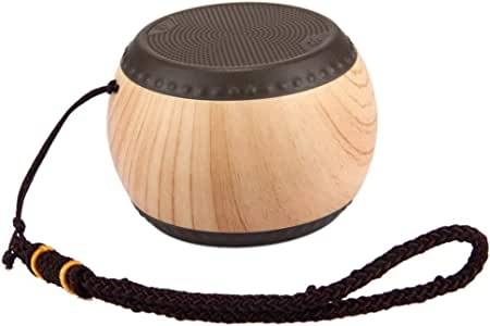 Mini Portable Drum Wood Grain Bluetooth Speaker with Hand Strap Bluetooth Distance 10 Meters,Brown