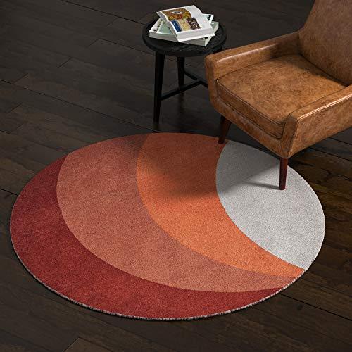 Rivet Modern Color-Block Rug, 5' x 8' Round, Multicolor