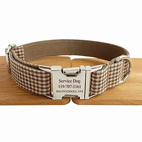 (hipidog Personalized Dog Collar, Custom Engraved Dog Collars with Name, Phone & Number Address, Adjustable XS/S/M/L/XL Sizes Fabric Buckle ID Collar, Options to Matching Style Leash)