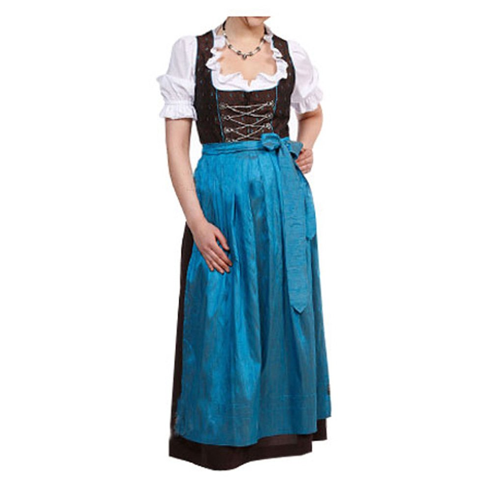 Dirndle lang mit Bluse und blauer Schürze Gr. 36 - Dirndlkleid