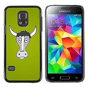 QCASE / Samsung Galaxy S5 Mini, SM-G800, NOT S5 REGULAR! / vaca gris Retrato agricultura verde animales / Delgado Negro Plástico caso cubierta Shell Armor Funda Case Cover