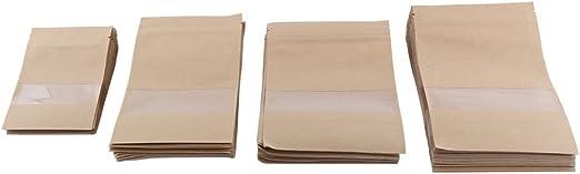 125 uds Bolsas papel kraft marr/ón para bocadillo o pasteler/ía 14+7x27 cm
