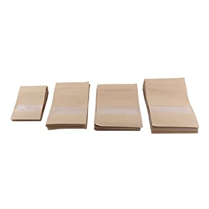 Amazon.com: 20pcs zip lock brown Kraft Paper Bags sealable ...