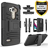 LG G Vista Case, Combo Shell Cover Kickstand with Built-in Holster Locking Belt Clip+Circle(TM)Touch Screen Pen And Screen Protector-Black