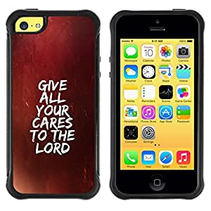 LASTONE PHONE CASE / Suave Silicona Caso Carcasa de Caucho Funda para Apple Iphone 5C / BIBLE Give All Your Cares To The Lord