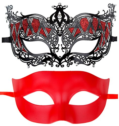 Couples Pair Half Venetian Masquerade Ball Masks Set Party Costume Accessory (Silver&Pink) by IETANG