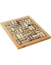 Oenophilia 11-1/4 by 9-Inch Bamboo Corkboard Trivet Kit