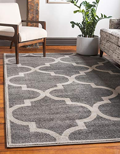 Unique Loom Trellis Collection Moroccan Lattice Gray Area Rug (7' 0 x 10' 0) (Gray Trellis Carpet)