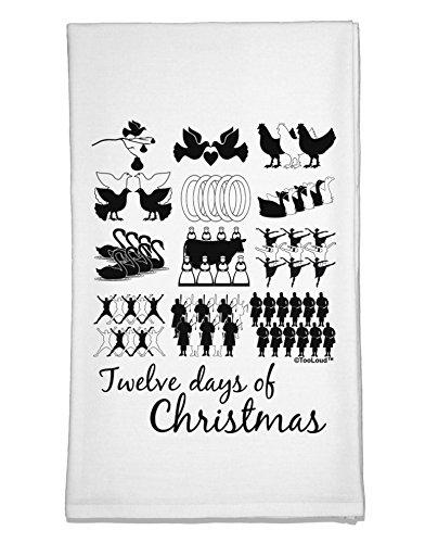 TooLoud Twelve Days of Christmas Text Flour Sack Dish Towel (Az Trees Phoenix Sale For Christmas)