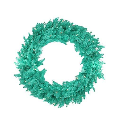 (Vickerman Pre-Lit Seafoam Ashley Spruce Christmas Wreath with Clear & Lights, 36