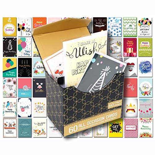Greeting 5 Pack Cards (60 Pack Birthday Cards Assortment with Assorted All Occasion Greeting Cards, 60 UNIQUE DESIGN BIG 5