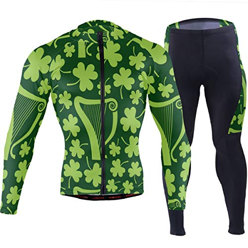 Green Irish Harps Shamrocks Men's Cycling Jersey Set Breathable Quick-Dry MTB Road Bike Luxury