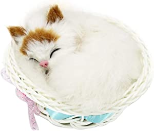 Coolayoung Sleeping Cat in Basket Doll Toy, Kitten in Basket with Meows Sounds Decor for Office Desk Hand Toy Gift for Kids Boys Girls