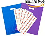 "100 Merchandise Bags + 120 ""Thank You"" Stickers. 12X15, EXTRA THICK - 2 Mil 
