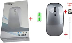 Hongqiang 2.4G Wireless Mouse, Rechargeable 4-Button 3 Speed DPI Adjustable Slim Mouse for Laptop Mouse for Home/Office,Gray